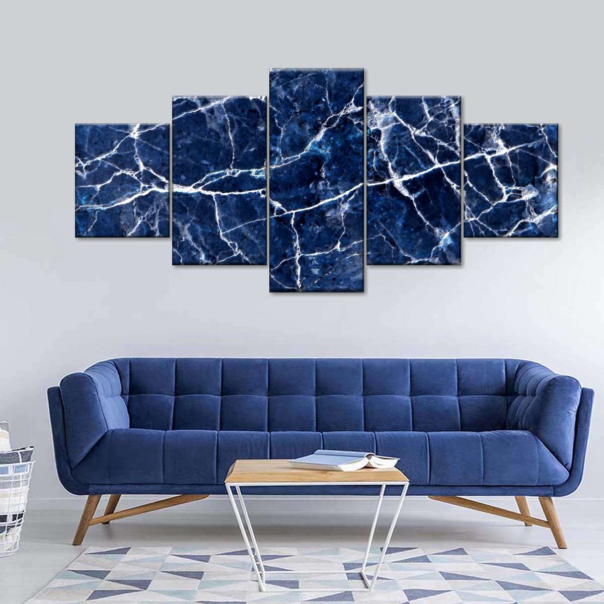Cracked Navy Marble Multi Panel Canvas Wall Art
