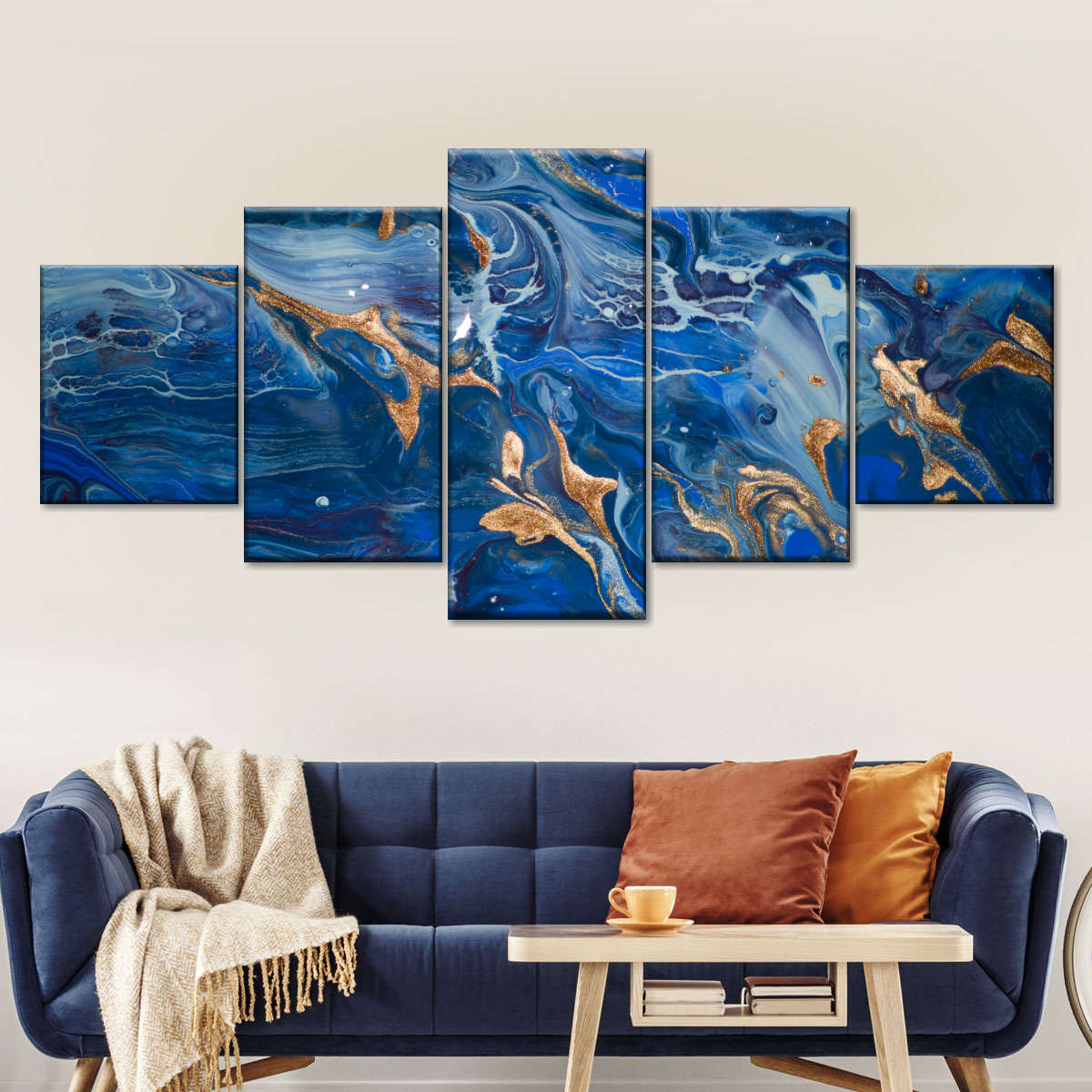 Blue Gold Marble Design Multi Panel Canvas Wall Art Elephantstock