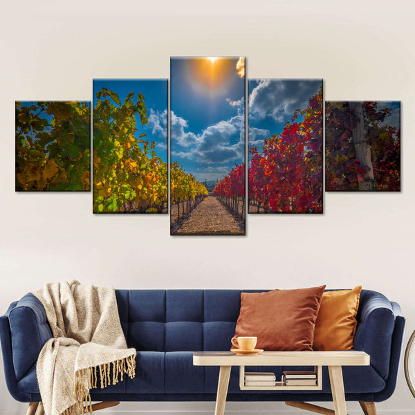 Red And White Vineyard Multi Panel Canvas Wall Art