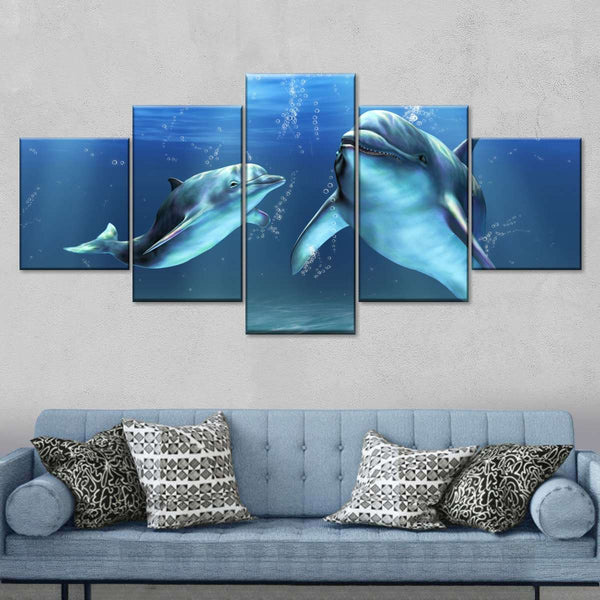 Dolphins Multi Panel Canvas Wall Art