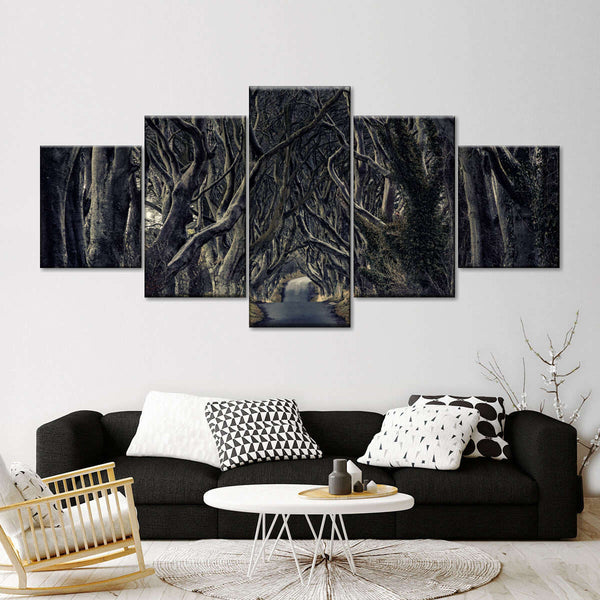 Dark Forest Pathway Multi Panel Canvas Wall Art