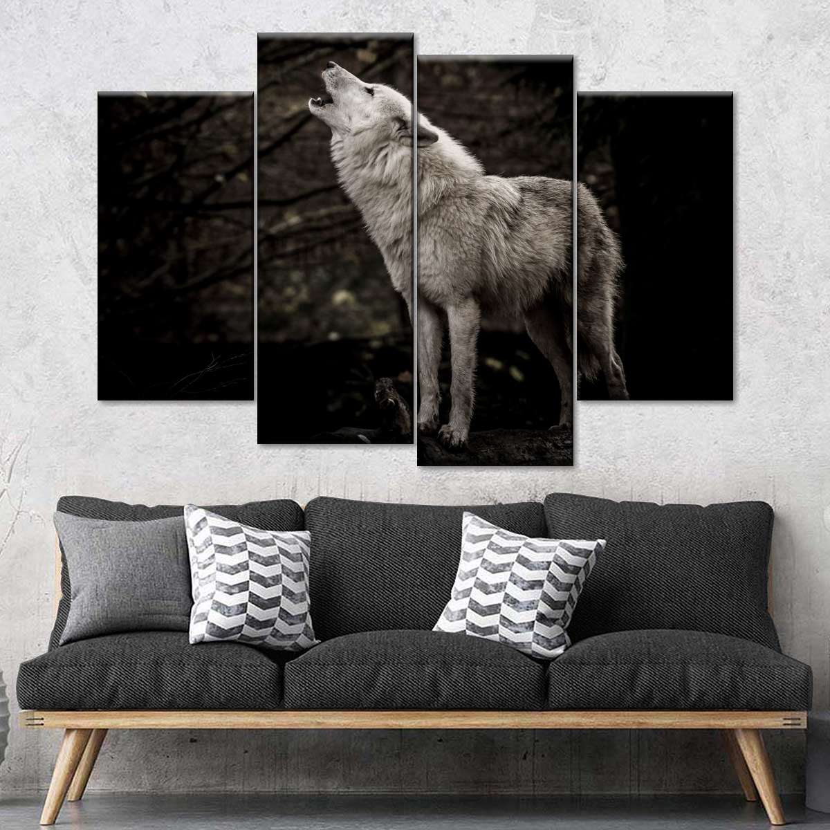 Wolves Black White Wildlife Framed Canvas Five Piece Wall Art 5 Panel Home Decor