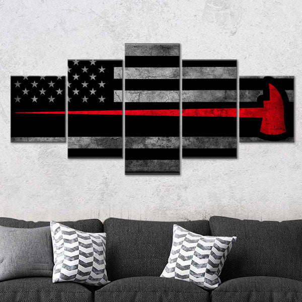 Firefighter Axe Flag Multi Panel Canvas Wall Art