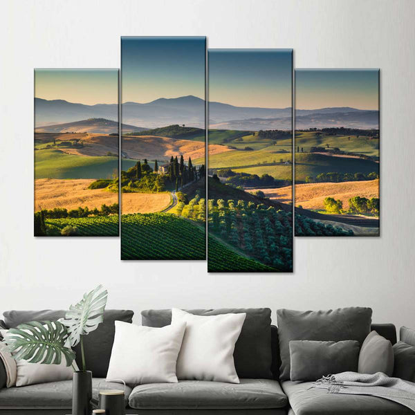Dawning At Tuscany Hills Multi Panel Canvas Wall Art