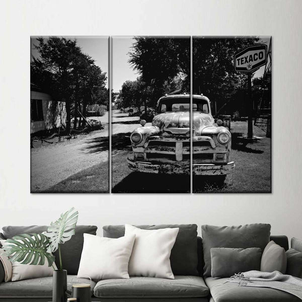 Texaco Vintage Truck BW Multi Panel Canvas Wall Art