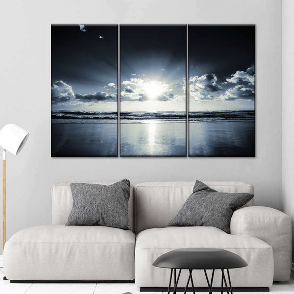 Black Sunset Multi Panel Canvas Wall Art