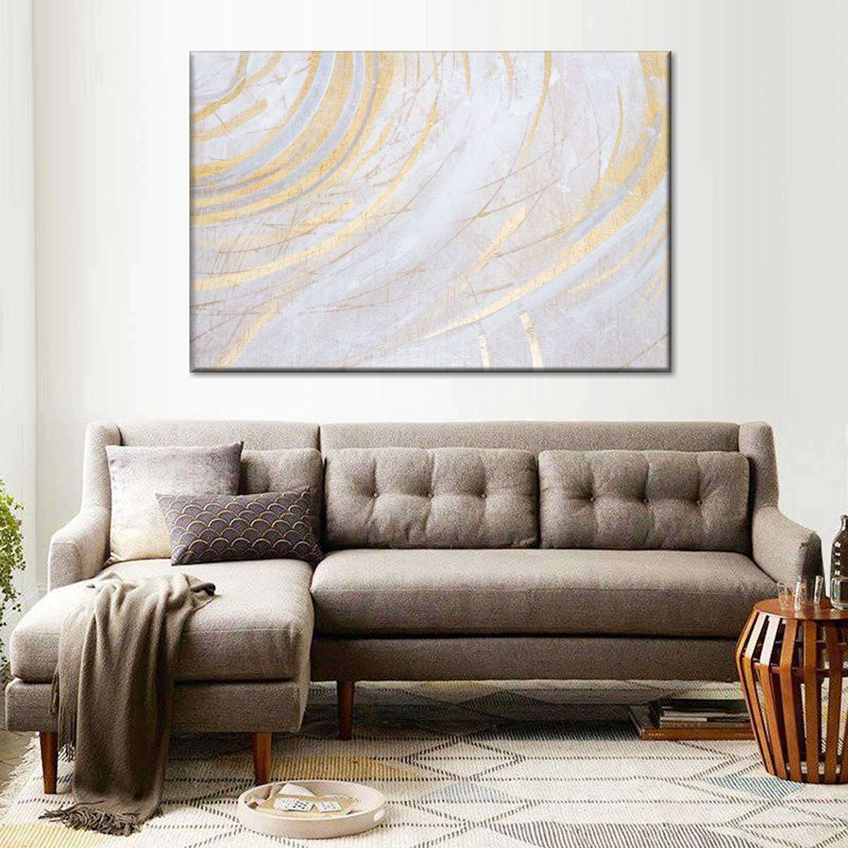 White Gold Surface Multi Panel Canvas Wall Art