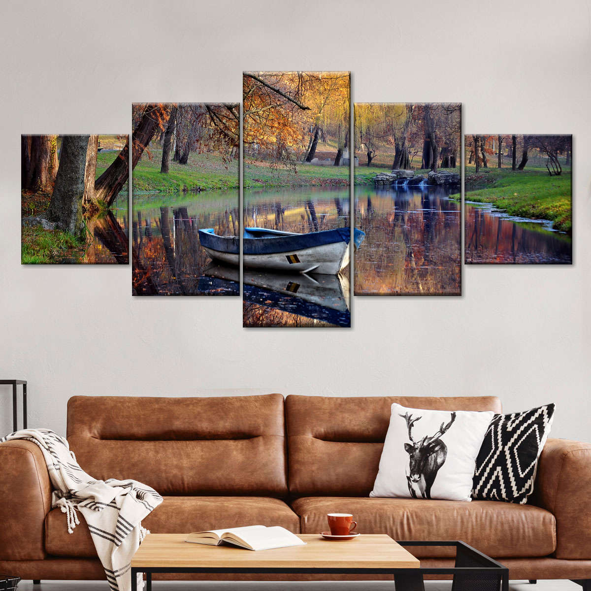 River at Autumn Multi Panel Canvas Wall Art