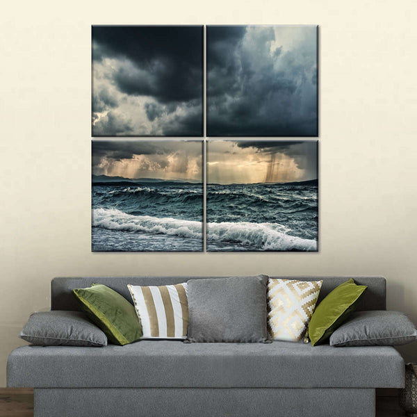 Stormy Ocean Multi Panel Canvas Wall Art