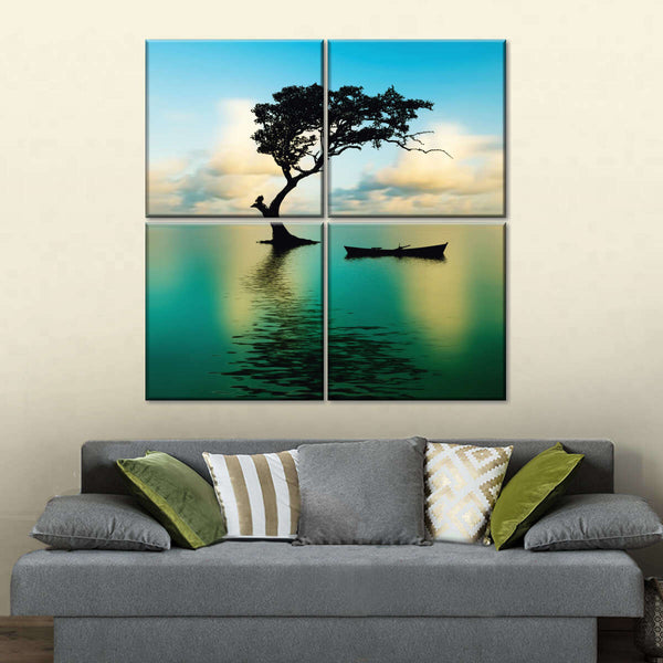Tree Over Water Multi Panel Canvas Wall Art