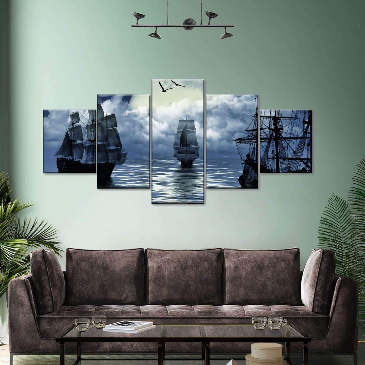 Old Sailing Boat Multi Panel Canvas Wall Art