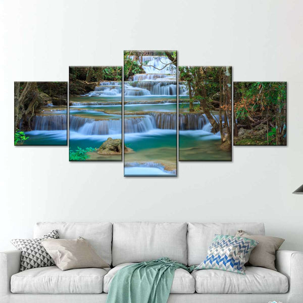 Enchanting Erawan Waterfall Multi Panel Canvas Wall Art