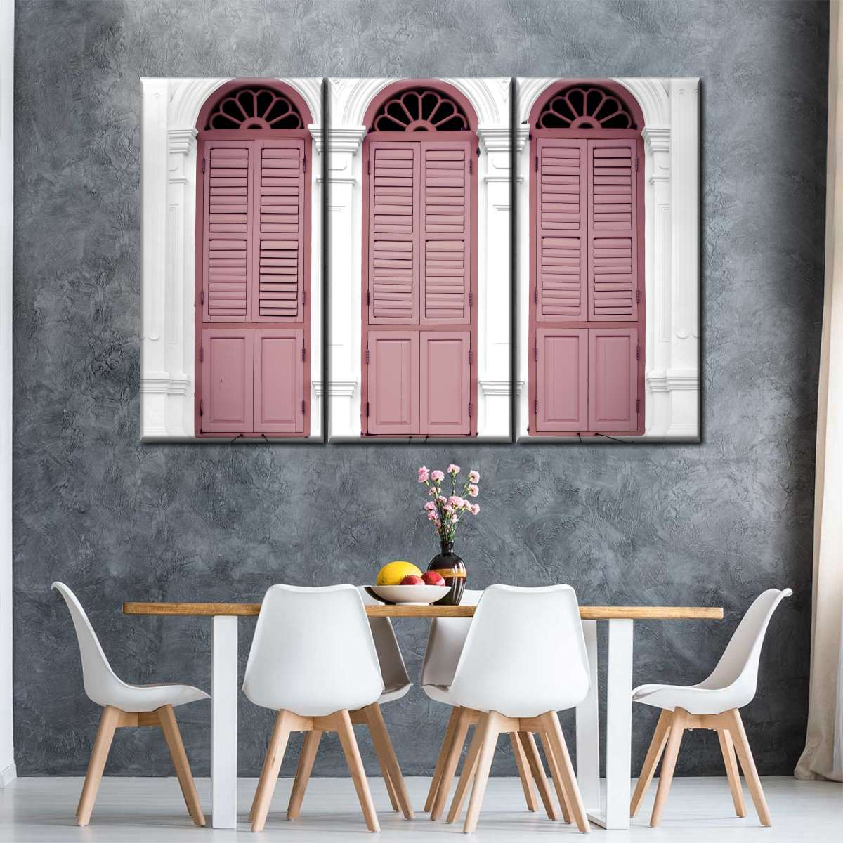 Pink Retro Windows Multi Panel Canvas Wall Art