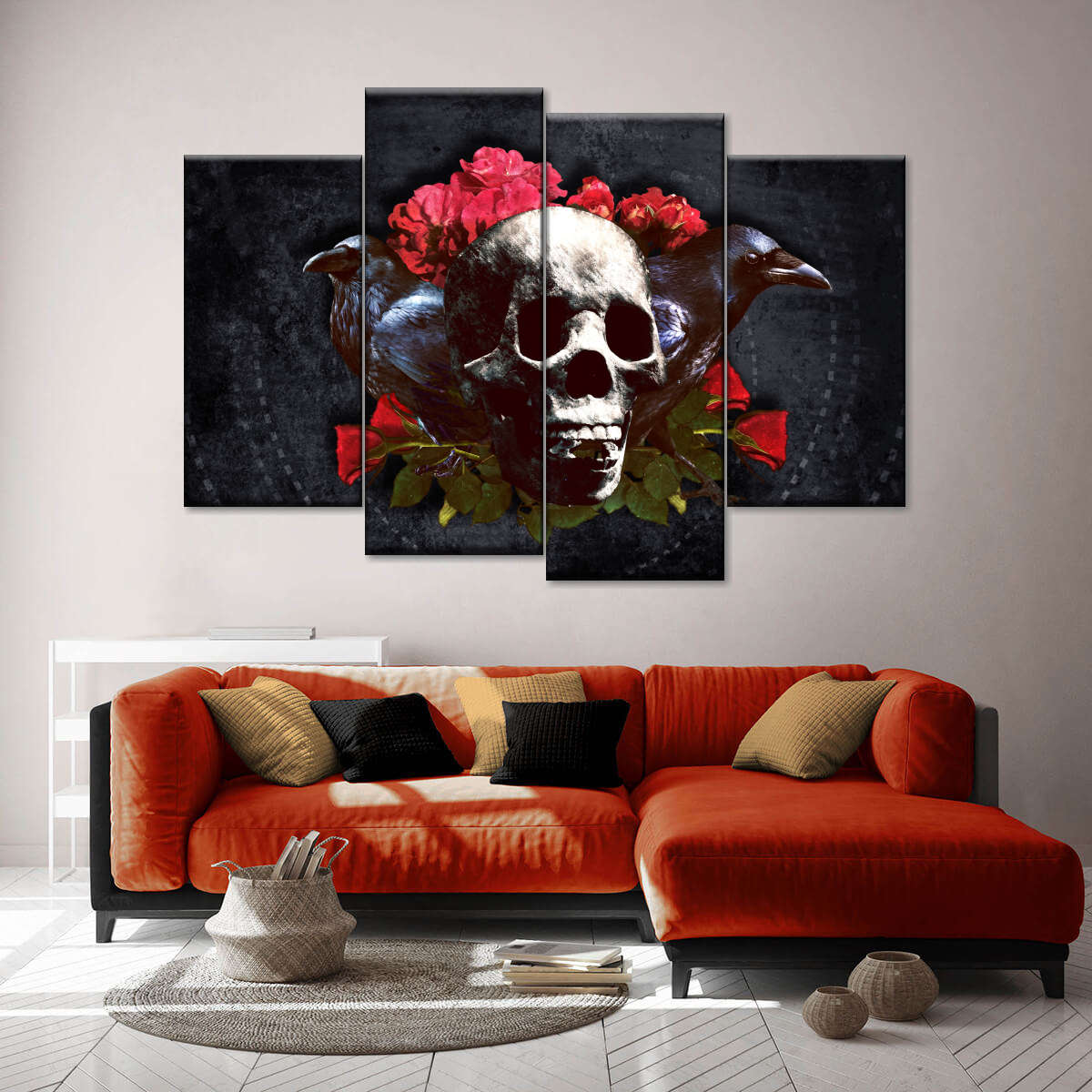Skull Kitchen Still Life Picture CANVAS WALL ART Four Panel