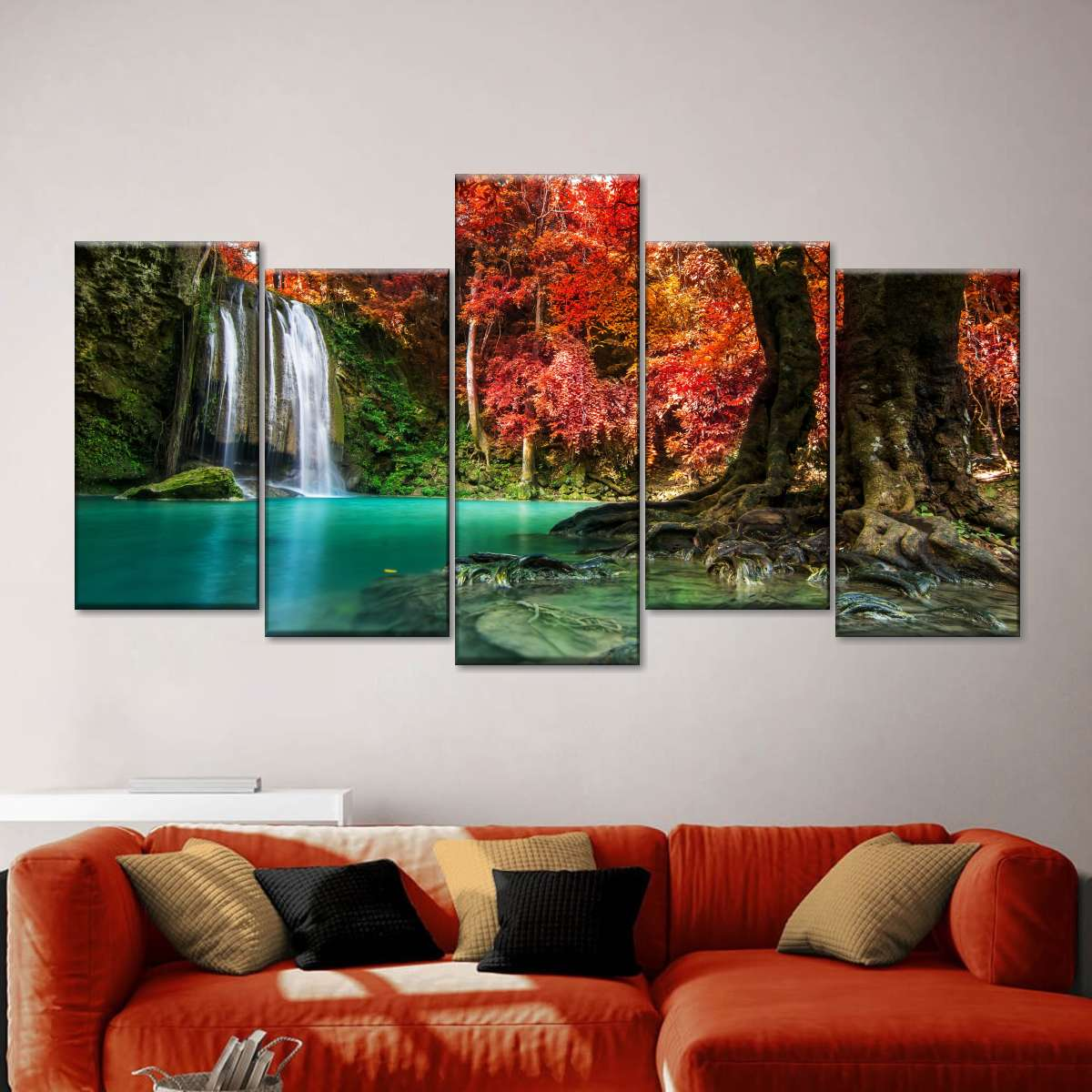 Red Waterfall Multi Panel Canvas Wall Art