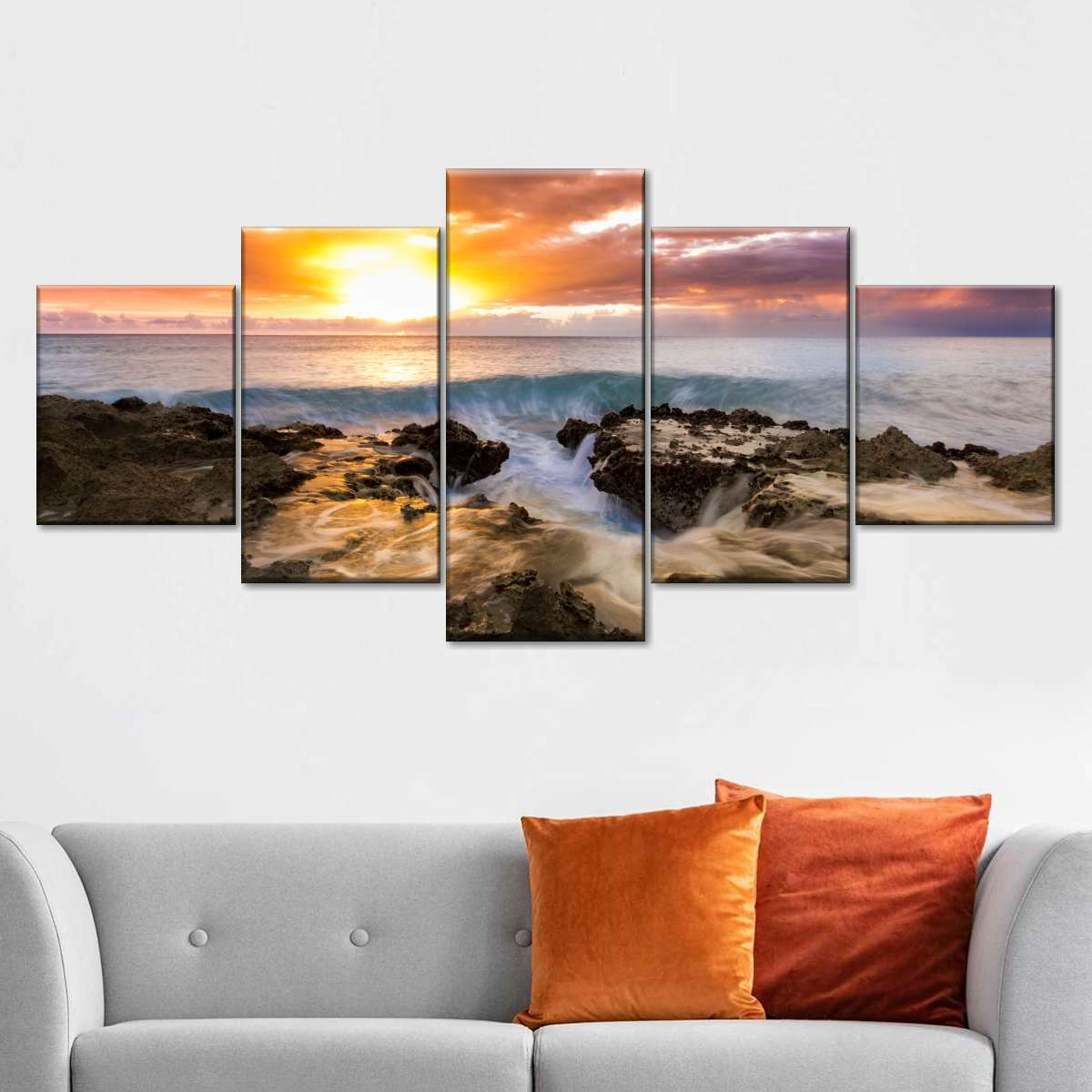 Beach Sinkhole At Sunset Multi Panel Canvas Wall Art Elephantstock