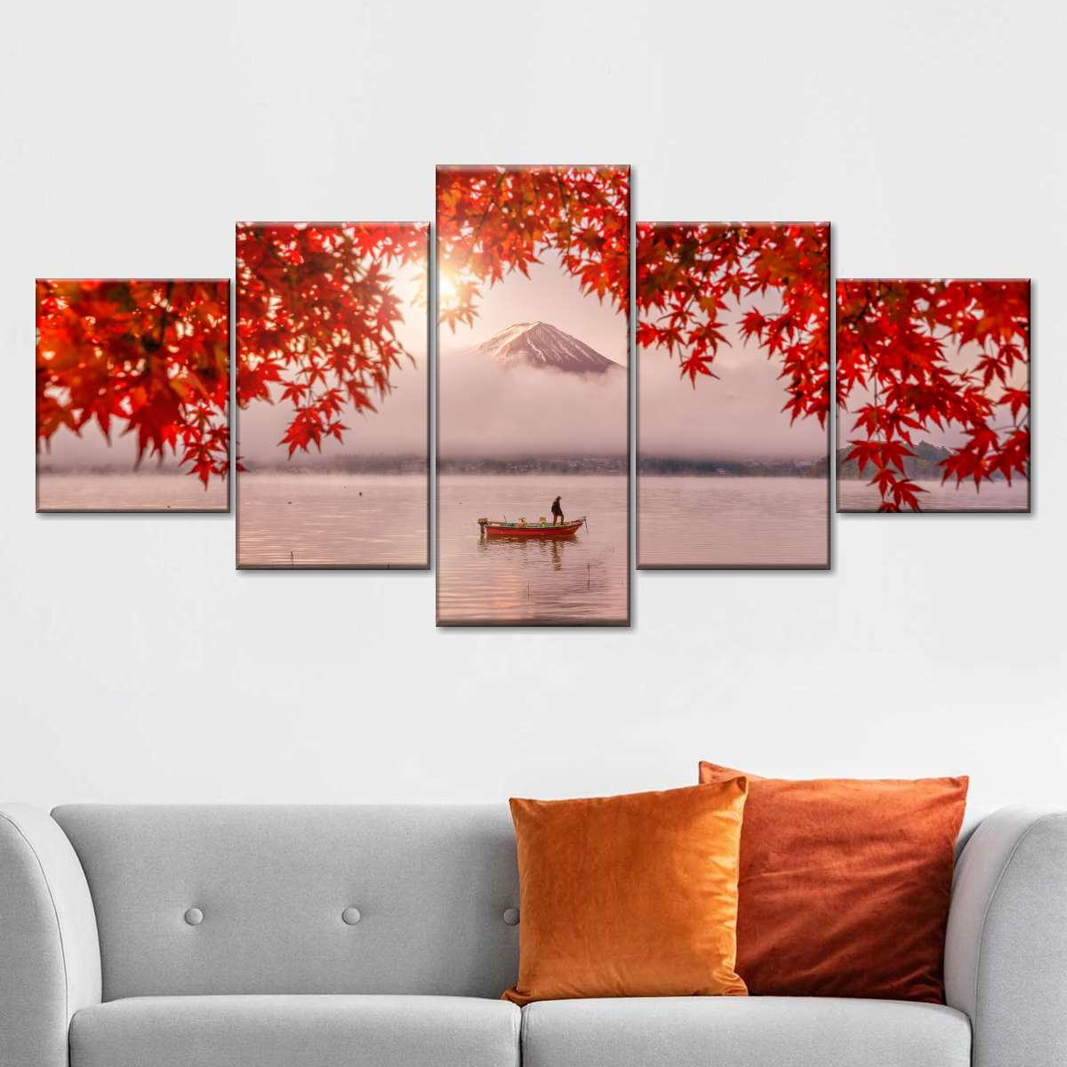 Red Autumn Leaves In Fuji Multi wall art padstyle