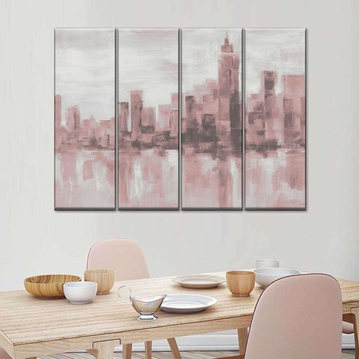 Misty Day in Manhattan Pink Gray Multi Panel Canvas Wall Art