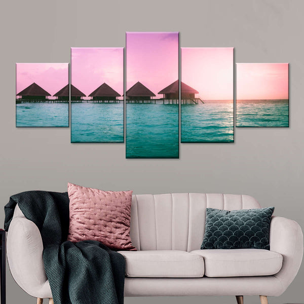 Breathtaking Bungalows Multi Panel Canvas Wall Art