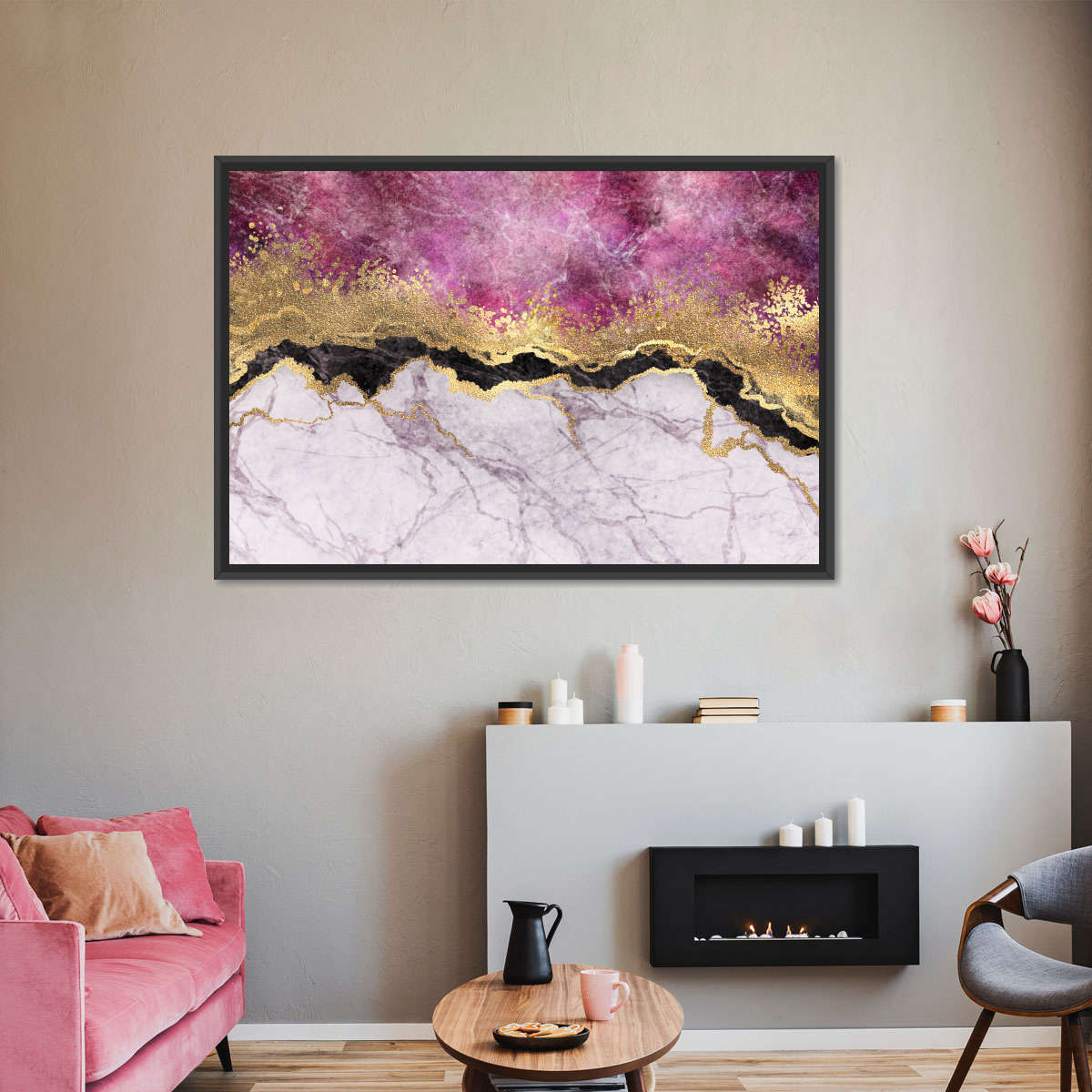 Pink Marble Veins Multi Panel Canvas Wall Art