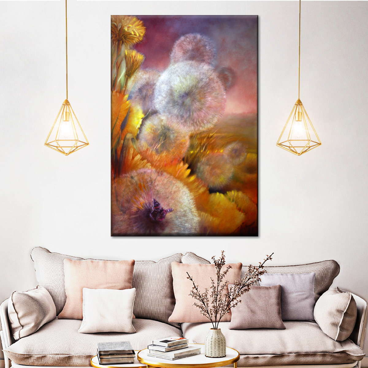 Dandelion And Butterfly Multi Panel Canvas Wall Art