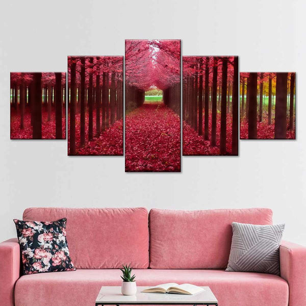 Red Forest Multi Panel Canvas Wall Art