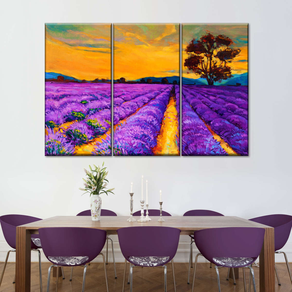 Lavender in Provence Multi Panel Canvas Wall Art