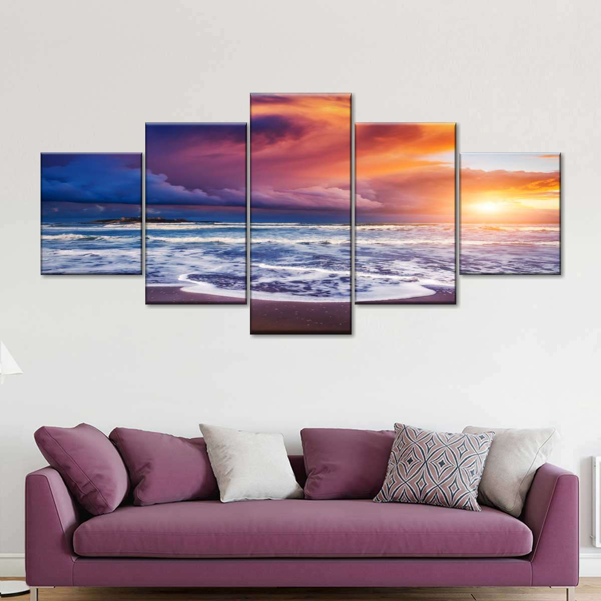 Heaven At Sunset Multi Panel Canvas Wall Art Elephantstock