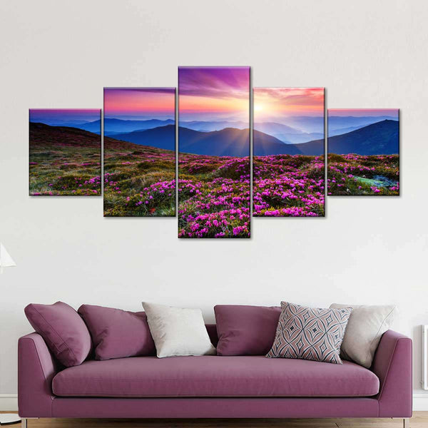 Pink Flowers at Sunset Multi Panel Canvas Wall Art
