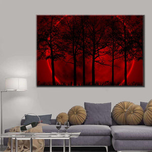 Maroon Forest Multi Panel Canvas Wall Art - Gothic