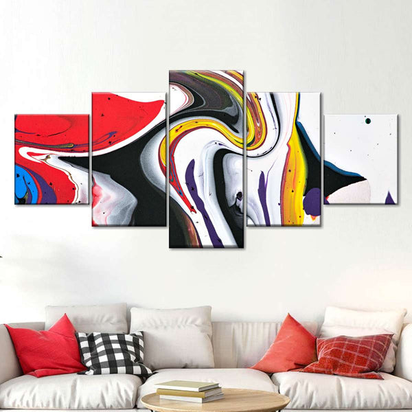 Colorful Abstract Multi Panel Canvas Wall Art