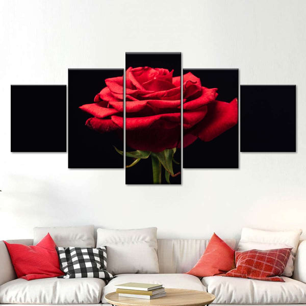 Forlorn Red Rose Multi Panel Canvas Wall Art