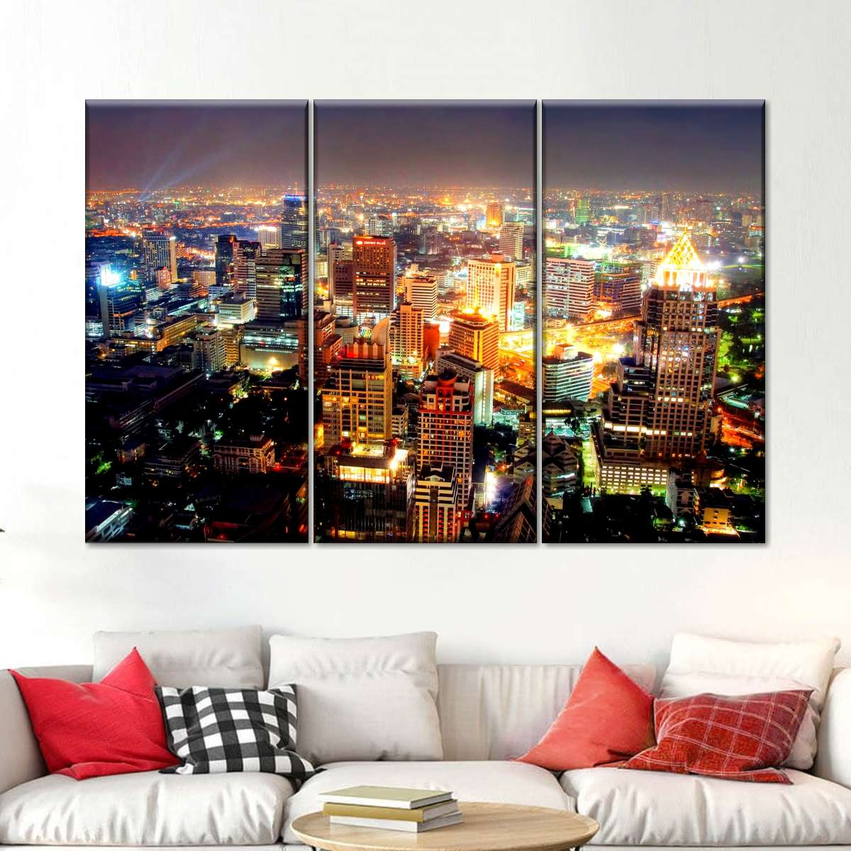 Bangkok At Night Multi Panel Canvas Wall Art Elephantstock