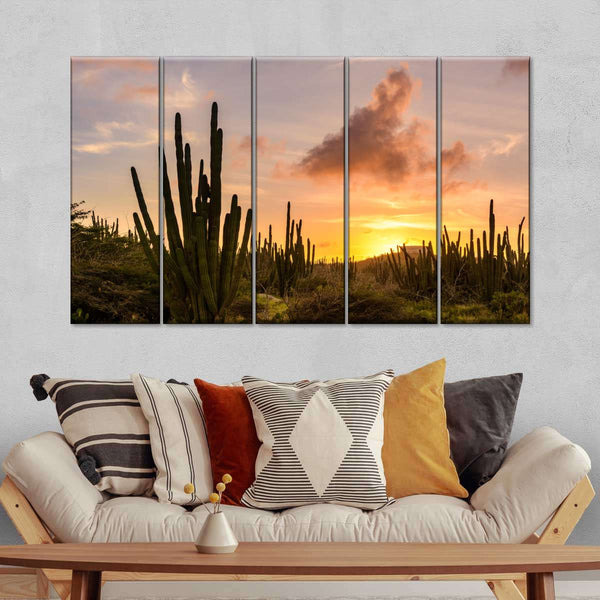 Desert Sunset Multi Panel Canvas Wall Art