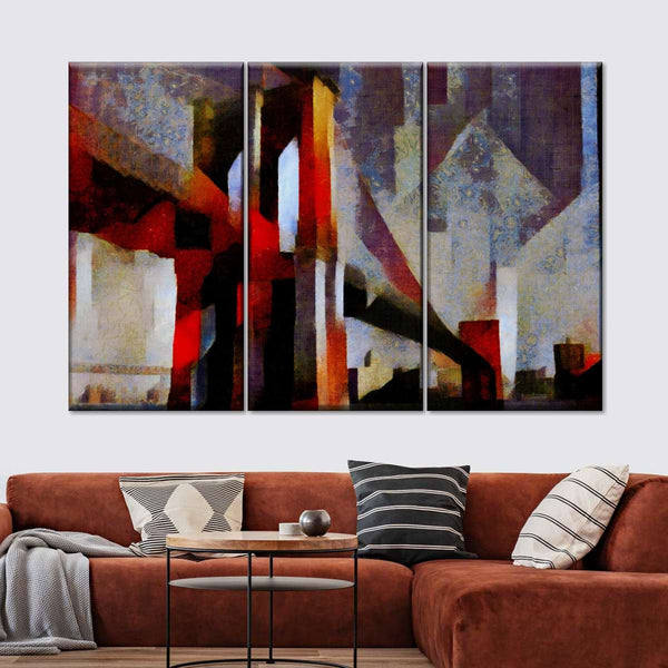 Abstract Brooklyn Bridge Multi Panel Canvas Wall Art