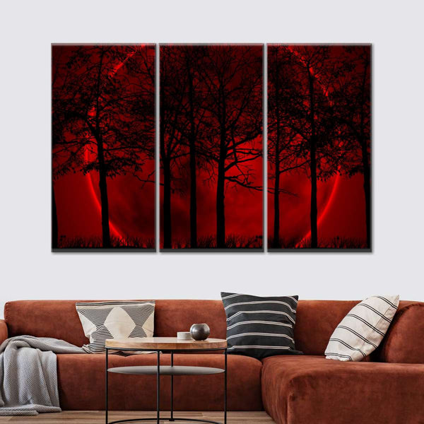 Maroon Forest Multi Panel Canvas Wall Art