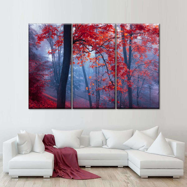 Foggy Red Maple Multi Panel Canvas Wall Art