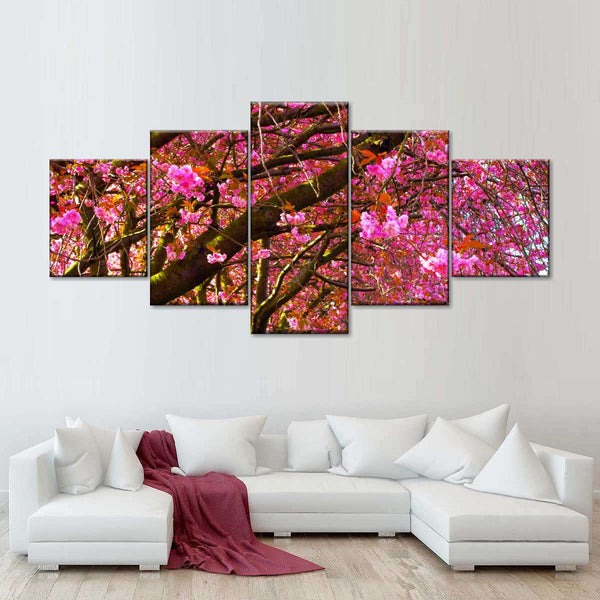 Flourishing Pink Blossom Multi Panel Canvas Wall Art