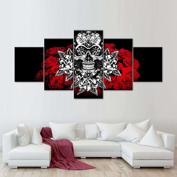 White Skull Multi Panel Canvas Wall Art