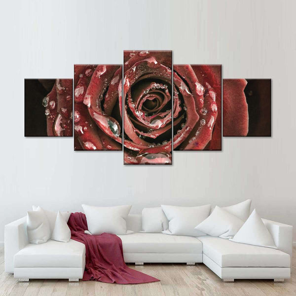 Dewy Rose Multi Panel Canvas Wall Art