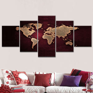 Maroon World Map Multi Panel Canvas Wall Art - World_map