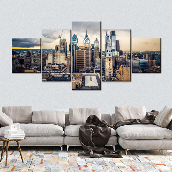 Stormy Philly Skyline Multi Panel Canvas Wall Art