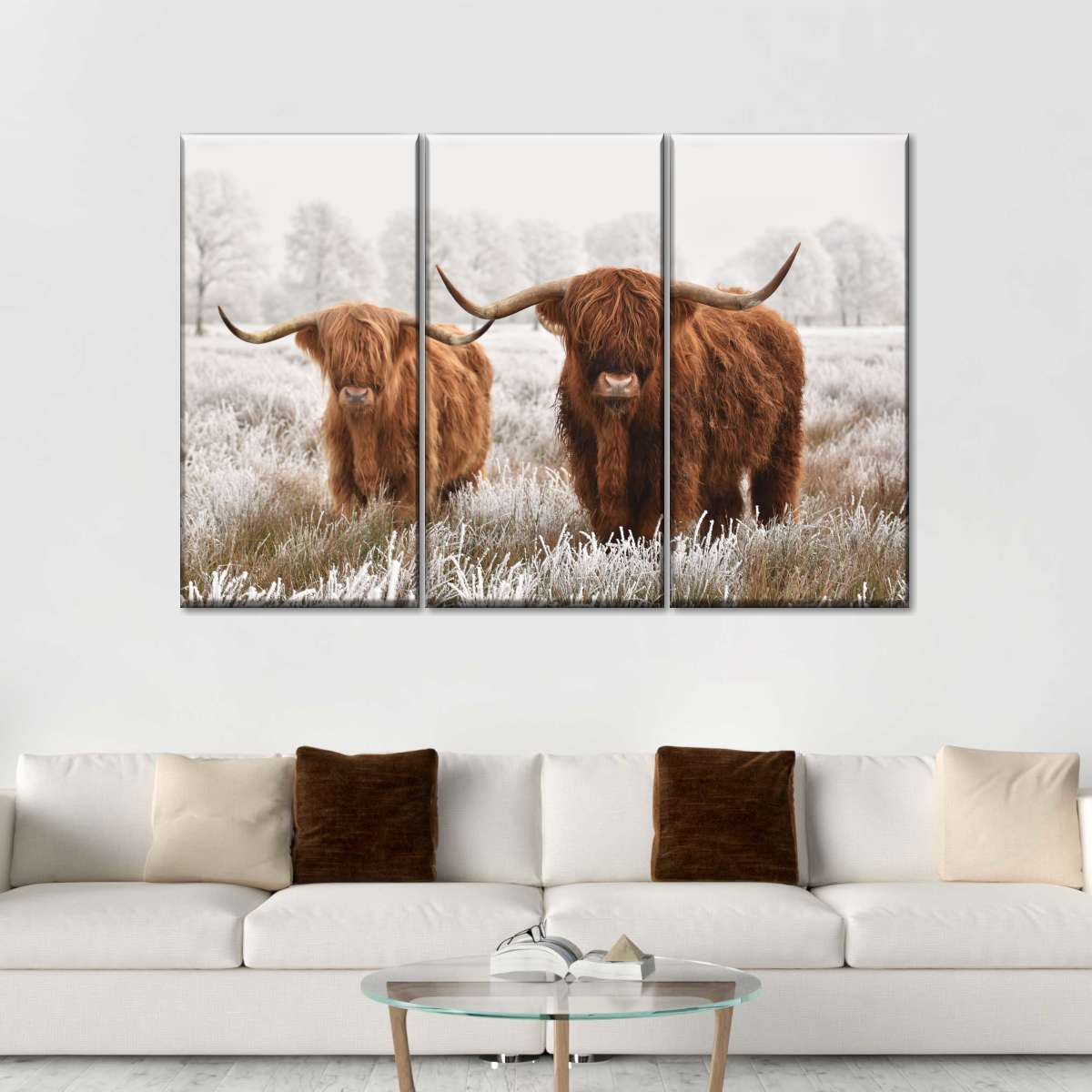 Hairy Highland Cattle Multi Panel Canvas Wall Art