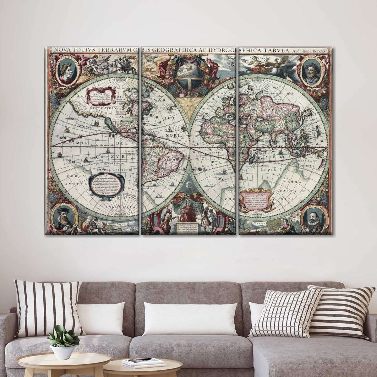 Painted Hemispheres Victorian Map Multi Panel Canvas Wall Art
