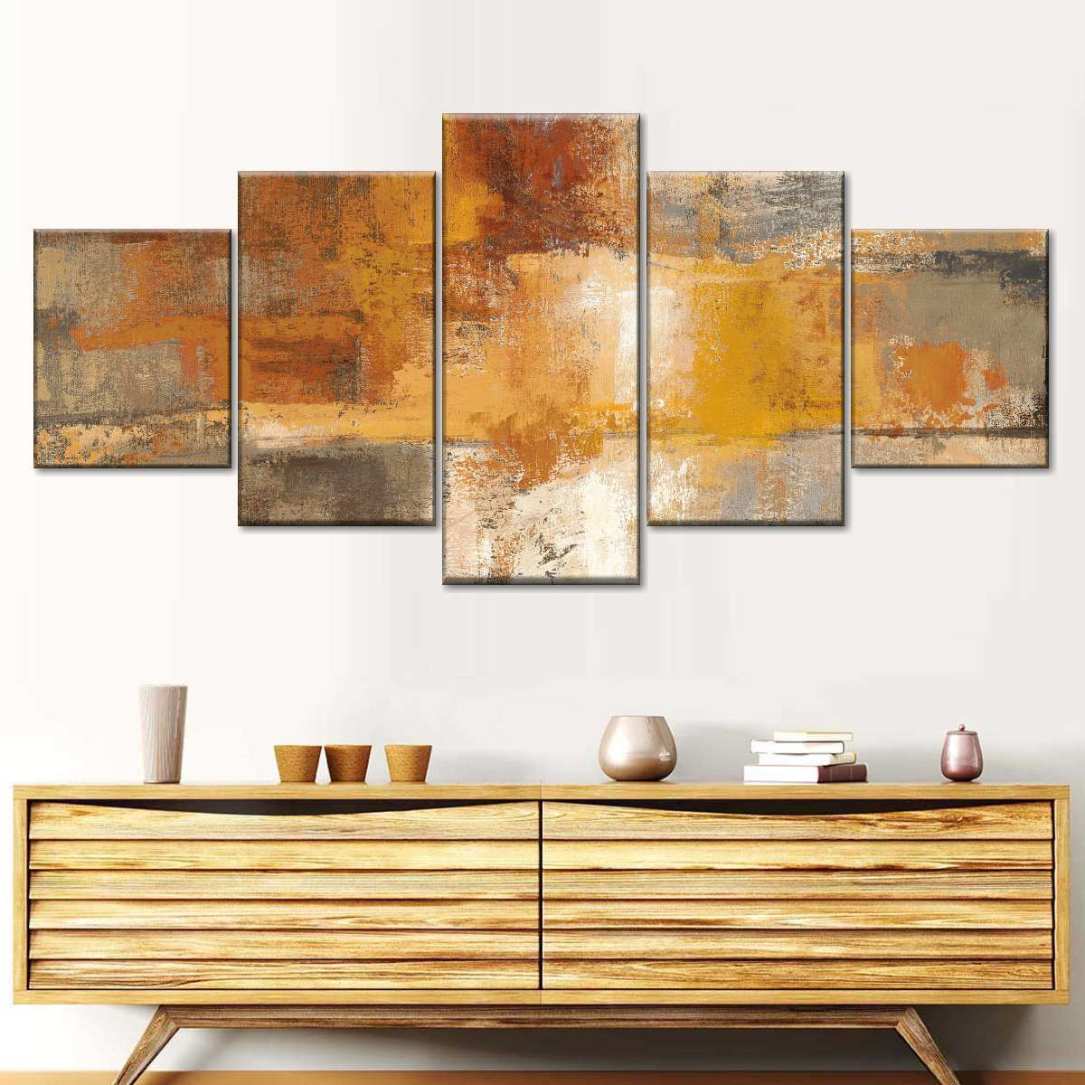 Silver and Amber Crop Multi Panel Canvas Wall Art