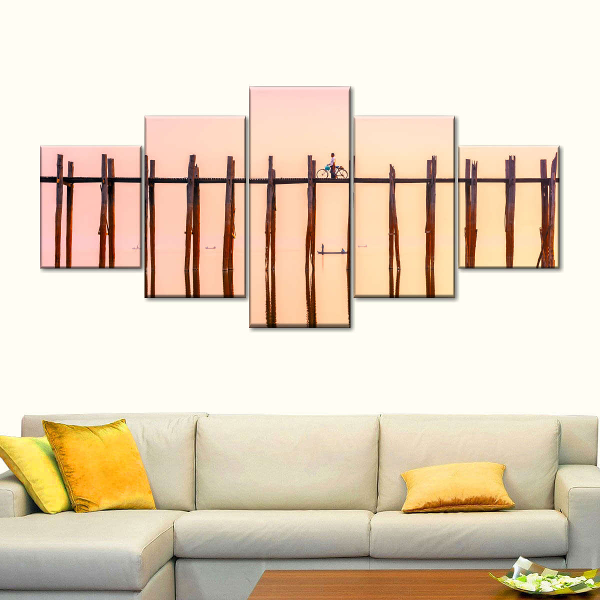 Tick Bridge At Sunset Multi Panel Canvas Wall Art