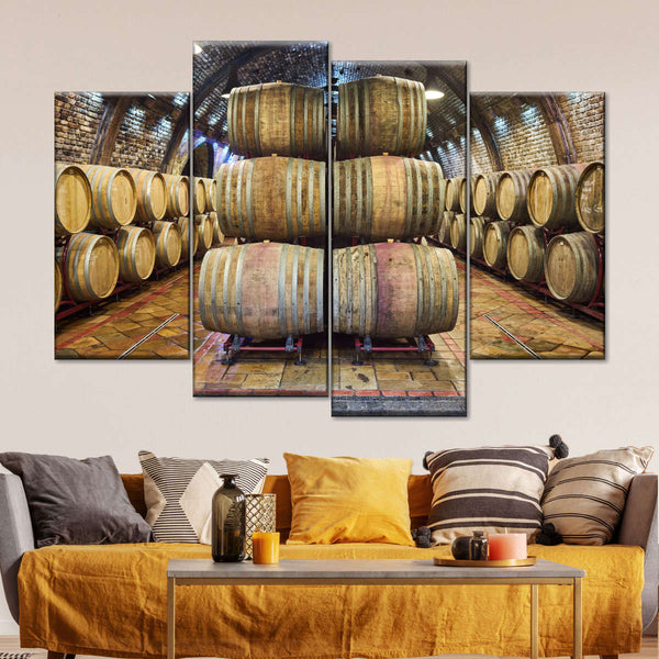 Oak Wine Barrels Multi Panel Canvas Wall Art