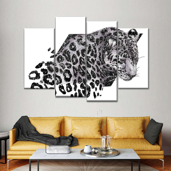 Cosmic Leopard Multi Panel Canvas Wall Art