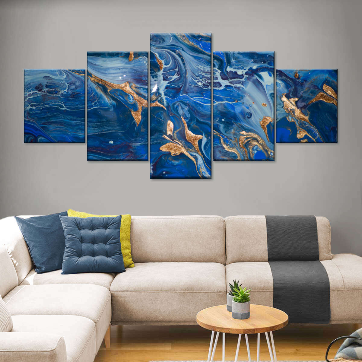 Blue Gold Marble Design Multi Panel Canvas Wall Art