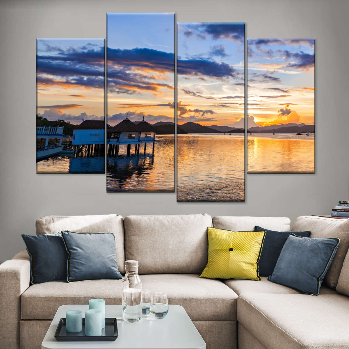 Philippines Sunset Multi Panel Canvas Wall Art Elephantstock